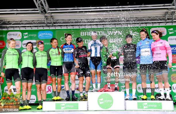 Podium / Coryn Rivera of The United States and Team Sunweb Green Leader Jersey / Lotta Pauliina Lepisto of Finland and CerveloBigla Pro Cycling Team...