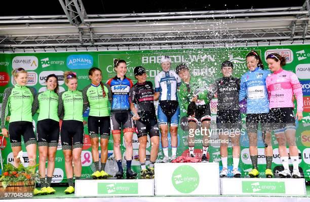 Podium / Coryn Rivera of The United States and Team Sunweb Green Leader Jersey / Lotta Pauliina Lepisto of Finland and Cervelo-Bigla Pro Cycling Team...
