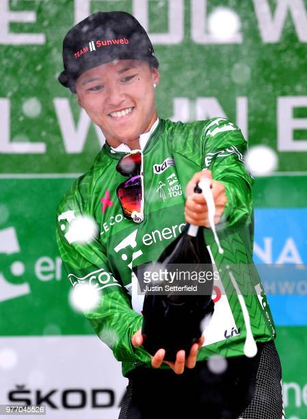 Podium / Coryn Rivera of The United States and Team Sunweb Green Leader Jersey / Celebration / Champagne / during the 5th OVO Energy Women's Tour...