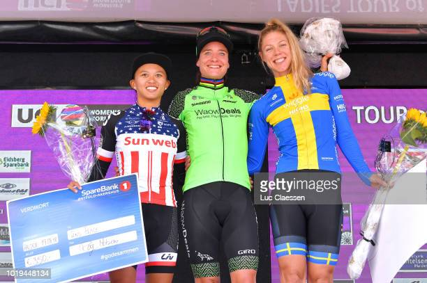 Podium / Coryn Rivera of The United States and Team Sunweb / Marianne Vos of The Netherlands and Team WaowDeals Pro Cycling / Emilia Fahlin of Sweden...