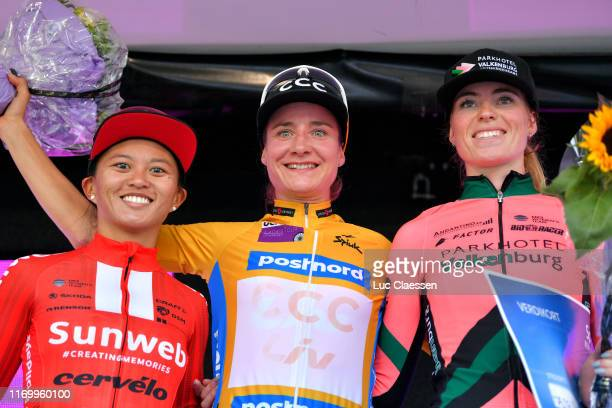Podium / Coryn Rivera of The United States and Team Sunweb / Marianne Vos of The Netherlands and Team CCC Liv Orange Leader Jersey / Demi Vollering...