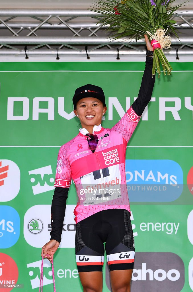 Podium / Coryn Rivera of The United States and Team Sunweb Pink Breast Cancer Care Points Jersey / Celebration / Trophy / during the 5th OVO Energy Women's Tour 2018 / Stage 2 a 143,9km stage from Rushden to Daventry on June 14, 2018 in Daventry, England.