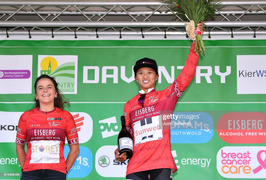 Podium / Coryn Rivera of The United States and Team Sunweb Red Sprints Jersey / Celebration / Trophy / during the 5th OVO Energy Women's Tour 2018 / Stage 2 a 143,9km stage from Rushden to Daventry on June 14, 2018 in Daventry, England.