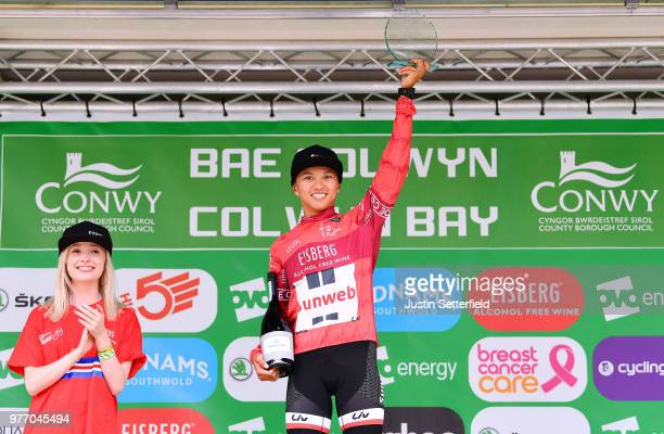 Podium / Coryn Rivera of The United States and Team Sunweb Red Sprints Jersey / Celebration / during the 5th OVO Energy Women's Tour 2018 Stage 5 a...