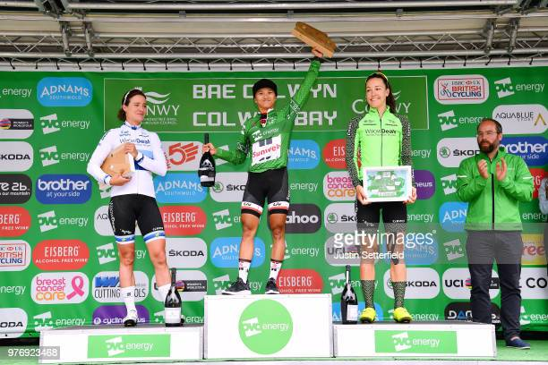 Podium / Coryn Rivera of The United States Green Leader Jersey / Celebration / Marianne Vos of The Netherlands and Waowdeals Pro Cycling Team /...