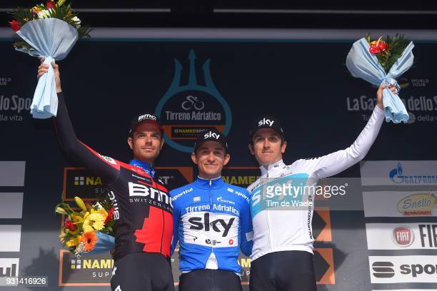 Podium / Damiano Caruso of Italy Michal Kwiatkowski of Poland Blue Leader Jersey Geraint Thomas of Great Britain Celebration / during the 53rd...