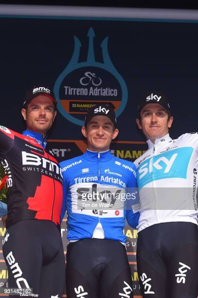 Podium / Damiano Caruso of Italy, Michal Kwiatkowski of Poland Blue Leader Jersey, Geraint Thomas of Great Britain Celebration / during the 53rd...