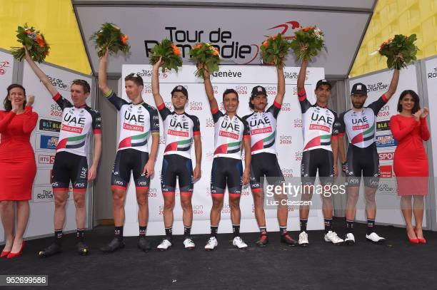 Podium / Daniel Martin of Ireland and UAE Team Emirates / Anass Aït El Abdia of Morocco and UAE Team Emirates / Matteo Bono of Italy and UAE Team...