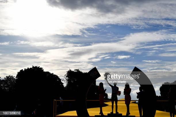 Podium / Daniel Martin of Ireland and UAE Team Emirates Most Combative Rider / Celebration / Silhouet / Landscape / during the 105th Tour de France...