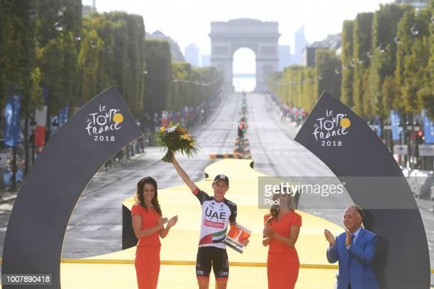 Podium / Daniel Martin of Ireland and UAE Team Emirates Most Combative Rider / Celebration / Arc De Triomphe / during the 105th Tour de France 2018,...
