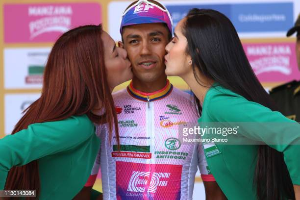 Podium / Daniel Martínez of Colombia and EF Education First Pro Cycling Team White Best Young Jersey / Celebration / during the 2nd Tour of Colombia...
