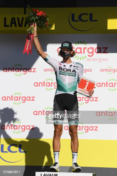 Podium / Daniel Oss of Italy and Team Bora - Hansgrohe Most Combative Rider / Celebration / Trophy / Flowers / during the 107th Tour de France 2020,...