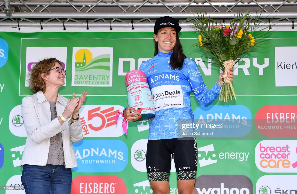 Podium / Danielle Rowe of The Great Britain and Team WaowDeals Pro Cycling Blue Best British Rider / Celebration / Trophy / during the 5th OVO Energy Women's Tour 2018 / Stage 2 a 143,9km stage from Rushden to Daventry on June 14, 2018 in Daventry, England.