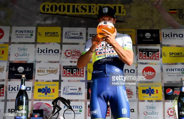 Podium / Danny Van Poppel of The Netherlands and Team Circus - Wanty Gobert / Celebration / Beer / during the 17th Gooikse Pijl 2020 a 200,7km stage...