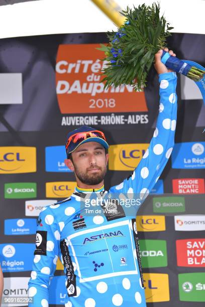 Podium / Dario Cataldo of Italy and Astana Pro Team Polka Dot Mountain Jersey / Celebration / during the 70th Criterium du Dauphine 2018, Stage 4 a...