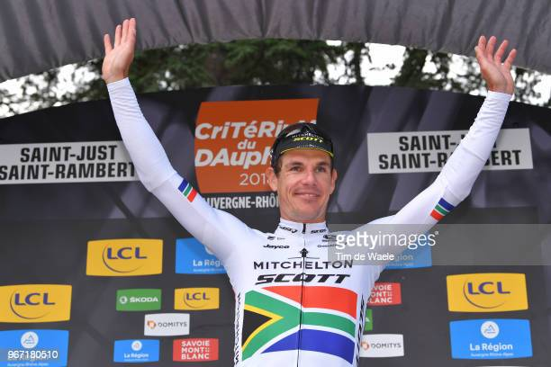Podium / Daryl Impey of South Africa and Team Mitchelton-Scott / Celebration / during the 70th Criterium du Dauphine 2018, Stage 1 a 179km stage from...