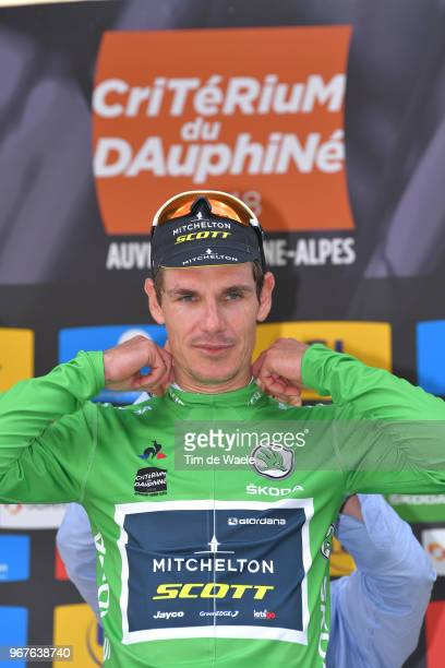 Podium / Daryl Impey of South Africa and Team MitcheltonScott Green Points Jersey / Celebration / during the 70th Criterium du Dauphine 2018 Stage 2...
