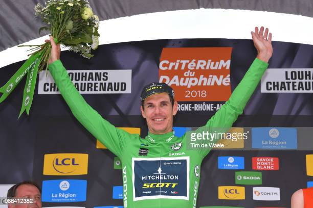 Podium / Daryl Impey of South Africa and Team MitcheltonScott Green Points Jersey / Celebration / during the 70th Criterium du Dauphine 2018 Stage 3...
