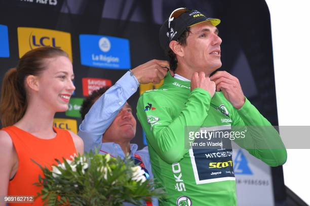 Podium / Daryl Impey of South Africa and Team MitcheltonScott Green Points Jersey / Celebration / during the 70th Criterium du Dauphine 2018 Stage 4...