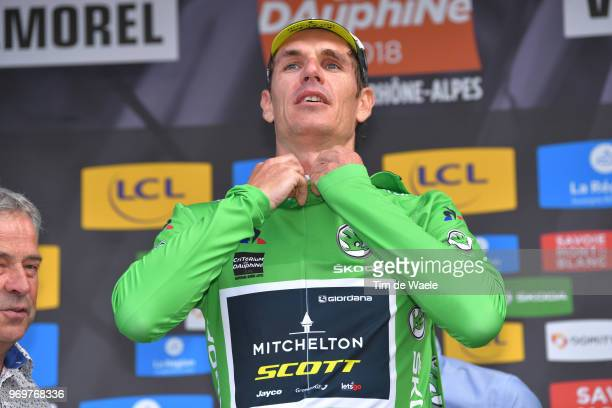 Podium / Daryl Impey of South Africa and Team MitcheltonScott Green Sprint Jersey / Celebration / during the 70th Criterium du Dauphine 2018 Stage 5...