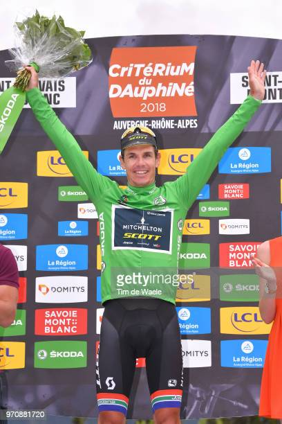 Podium / Daryl Impey of South Africa and Team MitcheltonScott Green Points Jersey / Celebration / during the 70th Criterium du Dauphine 2018 Stage 7...