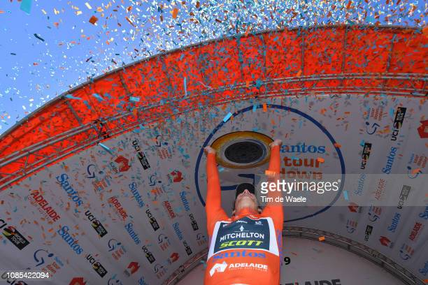 Podium / Daryl Impey of South Africa and Team Mitchelton-Scott Orange Leader Jersey Celebration / Trophy / during the 21st Santos Tour Down Under...