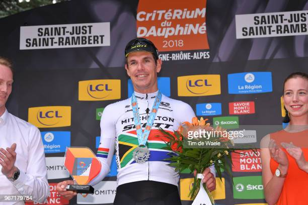 Podium / Daryl Impey of South Africa and Team MitcheltonScott / Celebration / Trophy / during the 70th Criterium du Dauphine 2018 Stage 1 a 179km...