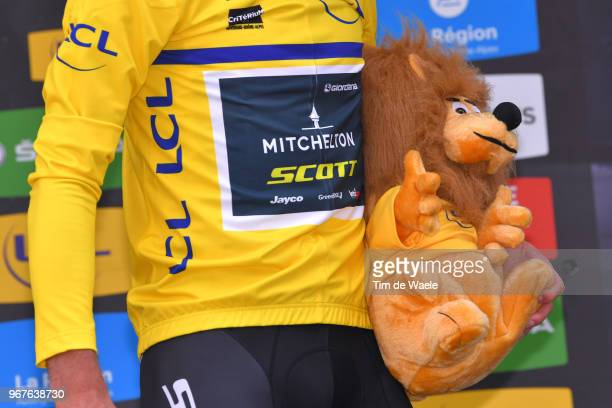 Podium / Daryl Impey of South Africa and Team MitcheltonScott Yellow Leader Jersey / Celebration / Mascot / during the 70th Criterium du Dauphine...