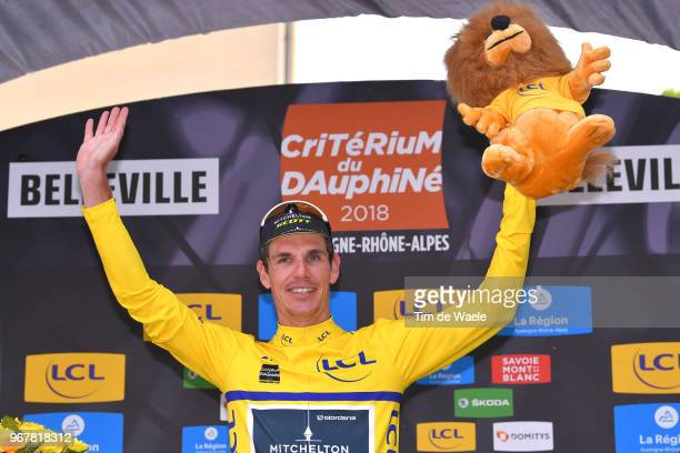 Podium / Daryl Impey of South Africa and Team MitcheltonScott Yellow Leader Jersey / Celebration / during the 70th Criterium du Dauphine 2018 Stage 2...