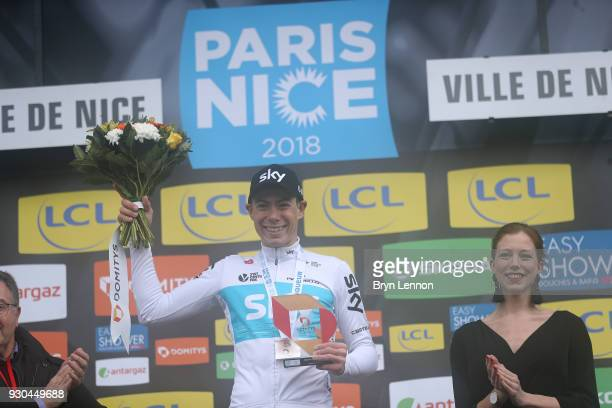 Podium / David De La Cruz of Spain and Team Sky Celebration / during the 76th Paris Nice 2018 Stage 8 a 110km stage from Nice to Nice on March 11...