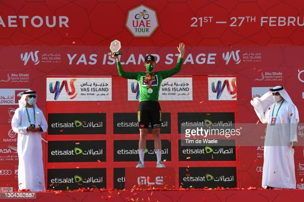 Podium / David Dekker of The Netherlands and Team Jumbo-Visma Green Points Jersey Celebration, during the 3rd UAE Tour 2021, Stage 7 a 147km stage...