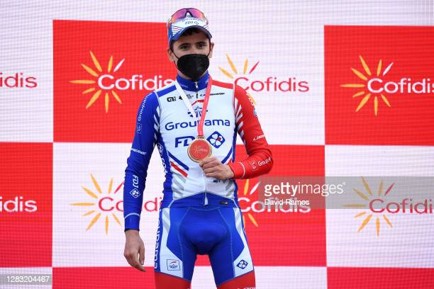 Podium / David Gaudu of France and Team Groupama - FDJ / Celebration / Trophy / during the 75th Tour of Spain 2020, Stage 11 a 170km stage from...