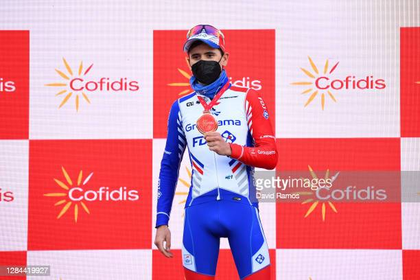 Podium / David Gaudu of France and Team Groupama - FDJ / Celebration / Trophy / Mask / Covid safety measures / during the 75th Tour of Spain 2020,...