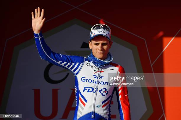 Podium / David Gaudu of France and Team GroupamaFDJ / Celebration / during the 5th UAE Tour 2019 Stage 3 a 179km stage from Al Ain to Jebel Hafeet...