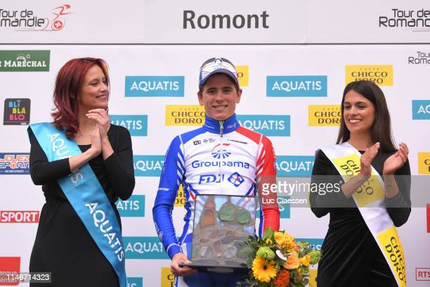 Podium / David Gaudu of France and Team Groupama-FDJ / Celebration / Miss / Hostess / during the 73rd Tour de Romandie 2019, Stage 3 a 160km stage...