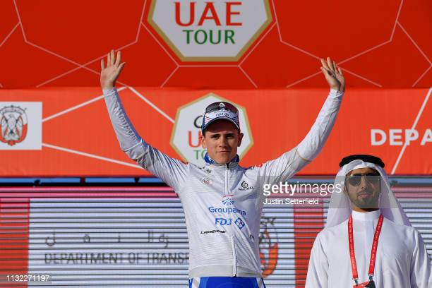 Podium / David Gaudu of France and Team GroupamaFDJ White Best Young Jersey / Celebration / during the 5th UAE Tour 2019 Stage 3 a 179km stage from...