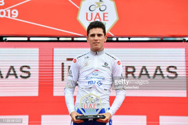 Podium / David Gaudu of France and Team GroupamaFDJ White Best Young Jersey / Celebration / during the 5th UAE Tour 2019 Stage 7 a 145km stage from...