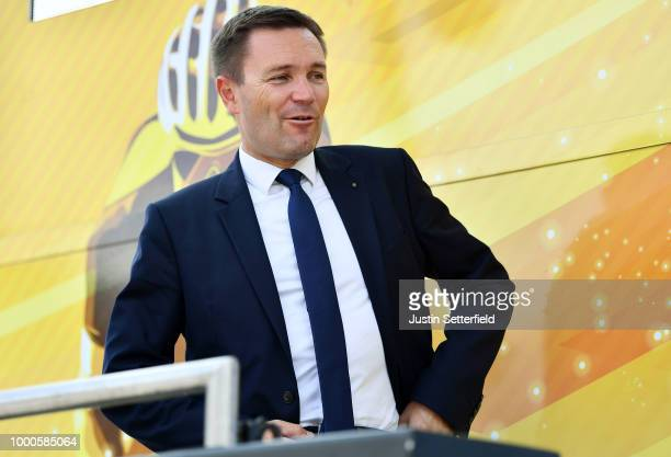 Podium / David Lappartient of France - UCI President / during the 5th La Course 2018 - by Le Tour de France a 112,5km women's race from Annecy to Le...