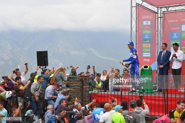 Podium / David Lappartient of France UCI President / Enric Mas of Spain and Team QuickStep Floors / Oscar Pereiro of Spain Ex Procyclist /...