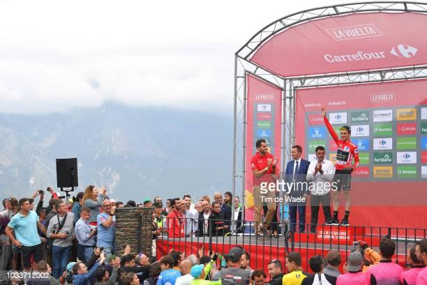 Podium / David Lappartient of France UCI President / Oscar Pereiro of Spain Ex Pro-cyclist / Simon Yates of Great Britain and Team Mitchelton-Scott...