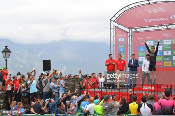 Podium / David Lappartient of France UCI President / Oscar Pereiro of Spain Ex Pro-cyclist / Simon Yates of Great Britain and Team Mitchelton-Scott /...