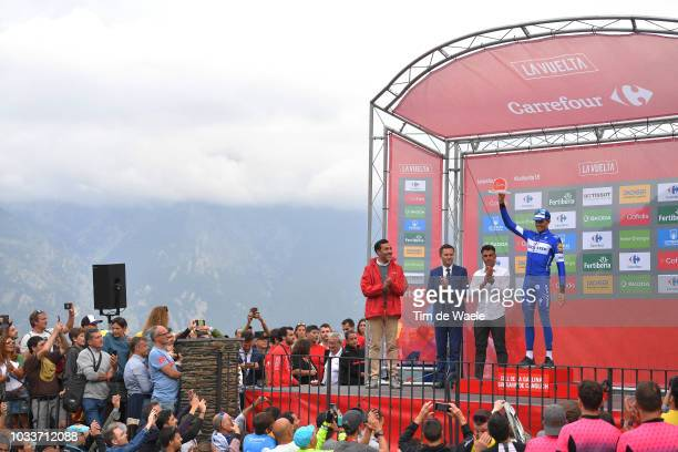 Podium / David Lappartient of France UCI President / Oscar Pereiro of Spain Ex Pro-cyclist / Enric Mas of Spain and Team Quick-Step Floors /...