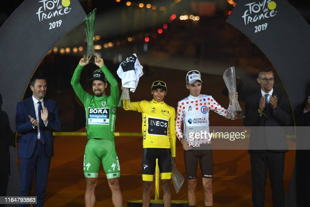 Podium / David Lappartient of France UCI President / Peter Sagan of Slovakia and Team BoraHansgrohe Green Sprint Jersey / Egan Bernal of Colombia and...