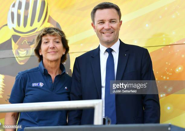 Podium / David Lappartient of France - UCI President / Stephane Pallez of France - FDJ President / during the 5th La Course 2018 - by Le Tour de...