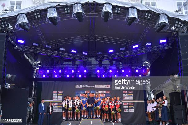 Podium / David Lappartient of France UCI President / Tom Dumoulin of The Netherlands / Chad Haga of The United States / Wilco Kelderman of The...