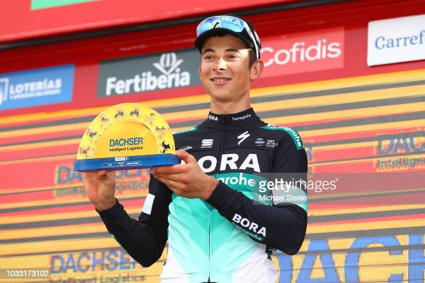 Podium / Davide Formolo of Italy and Team Bora - Hansgrohe / Celebration / Best Team / during the 73rd Tour of Spain 2018, Stage 19 a 154,4km stage...