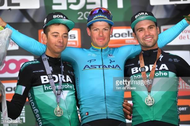 Podium / Davide Formolo of Italy and Team BoraHansgrohe / Jakob Fuglsang of Denmark and Astana Pro Team / Maximilian Schachmann of Germany and Team...