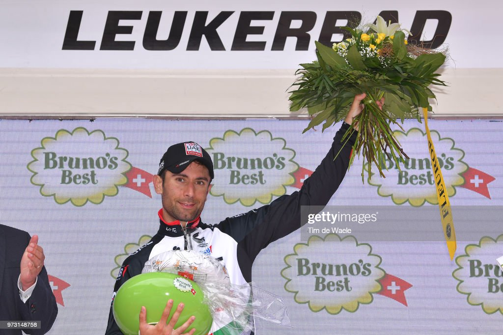 Podium / Diego Ulissi of Italy and UAE Team Emirates / Celebration / during the 82nd Tour of Switzerland 2018, Stage 5 a 155,7km stage from Gstaad to Leukerbad 1385m on June 13, 2018 in Leukerbad, Switzerland.
