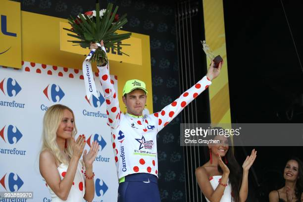 Podium / Dion Smith of New Zealand and Team Wanty Groupe Gobert Polka Dot Mountain Jersey / during the 105th Tour de France 2018, Stage 2 a 182,5km...