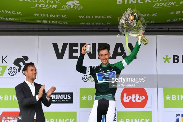 Podium / Dries De Bondt of Belgium and Team Veranda's Willems-Crelan Green-Black Combativity Jersey / Celebration / Beer / during the 14th BinckBank...